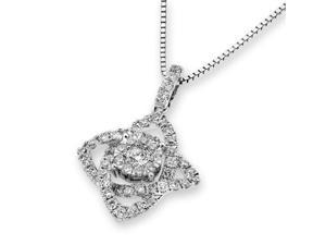 18K White Gold Cluster Diamond Pendant W/Silver Chain (0.55ct,G-H Color,VS2-SI1 Clarity)
