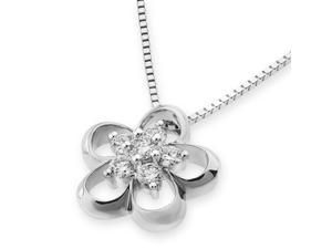 18K/750 White Gold Flower Cluster Diamond Pendant W/925 Sterling Silver Chain (0.24 cttw , G-H Color, SI1-SI2 Clarity)