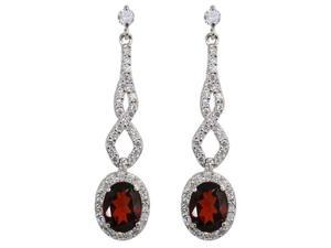 JA-ME Natural red garnet Pierced earring
