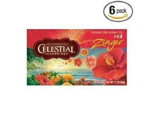 Celestial Seasonings Herb Tea, Red Zinger, 20-Count Tea Bags (Pack of 6)