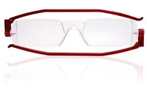 Nannini FlatSpecs Compact One Reading Glasses - Red Temples, Optics 2.5