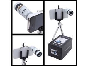 iPhone 4 4S Compatible Lens Kit - 180 Degree Fish Eye, 0.67x Wide Angle, Macro, White 8X Optical Zoom Telescope