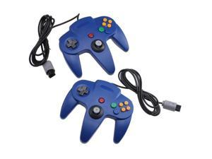 Two Blue Game Controllers for Super Nintendo 64