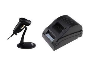 USB Automatic Barcode Scanner Scanning Barcode Bar-code Reader w/ High-speed 58mm POS Receipt Thermal Printer for Laptop, ...