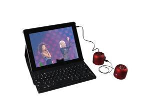 360° Leather Case Cover w/ Bluetooth Detachable Keyboard  Plus Portable Tweakers Mini-Boom Speakers for iPad 3 The New iPad