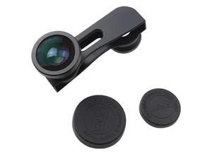 180° Fisheye Lens +Wide Angle Lens +Macro Lens 3-in-1 Black Kit for Apple iPhone 5 5G - Black