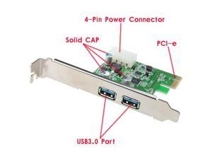 USB 3.0 PCI-e Express Card with 2 USB 3.0 Ports and 5V 4-Pin Power Connector for Desktops PCI Express Expansion Card Adapter