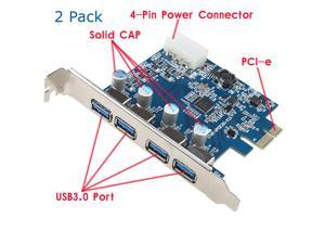 2 Pack USB 3.0 PCI-e Express Card with 4 USB 3.0 Ports and 5V 4-Pin Power Connector for Desktops PCI Express Expansion Card ...