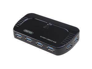 Unitek USB 3.0 10 Port Portable SuperSpeed Hub + 5V 4A Power Adapter for LED Power indicator, Slim Design, Internal Current ...