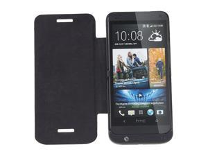 Brand New Battery Pack Backup Power Bank External 3200mAh Battery Case for HTC ONE M7 with Leather Flip Cover - Black