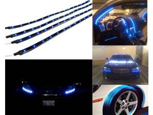 "AGPtek CE7 4 Pack 12""-inch LED Car Flexible Waterproof Light Strip Decorative Lights - Blue"