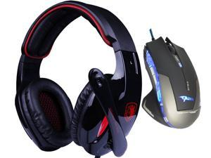 E-Blue Mazer 2500 DPI Blue LED Optical USB Wired Gaming Mouse+Bluedio R+Sades Over Ear Surround Sound PC Gaming Headset & ...