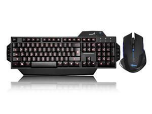 Blue & Red LED Illuminated Ergonomic Backlit Gaming Keyboard + 2500DPI USB 2.4GHz Wireless Optical Gaming Mouse