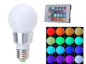 AGPtek DE6 Wireless Remote Control 16 Color LED Light Bulb E27 3W