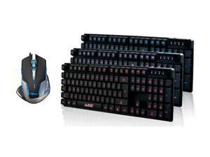 3 Color LED Backlight Backlit USB Multimedia Illuminated Gaming Keyboard Mechanical Feeling Keyboard + 2500 DPI Blue LED ...