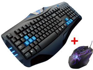 LED Illuminated Ergonomic USB Wired Blue Backlit Gaming Keyboard w/ 3500DPI Adjustable 4-Level DPI LED Gaming Game Mouse ...