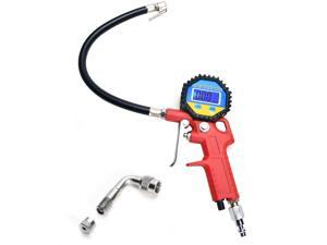 0-150 PSI Air Inflator with Digital Tire Pressure Gauge, 90 Degree Valve Extender, Integrated Closed, Flexible Rubber Hose & Straight Lock-on Air Chunk, LCD Backlit Screen