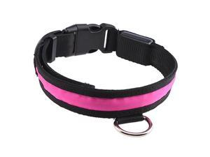 12''-16'' Small Size LED Pink Flashing Light Adjustable Fashion Pets Dog Collar Belt