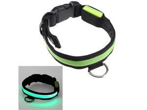 16''-20'' Medium Size LED Green Flashing Light Adjustable Fashion Pets Dog Collar Belt