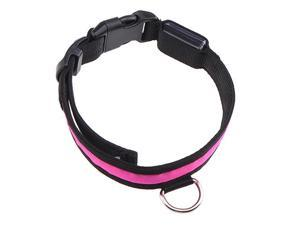 16''-20'' Medium Size LED Pink Flashing Light Adjustable Fashion Pets Dog Collar Belt