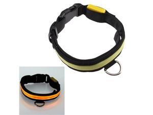 16''-20'' Medium Size LED Yellow Flashing Light Adjustable Fashion Pets Dog Collar Belt