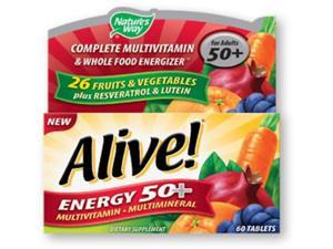 Alive! Energy 50+ Once Daily Multivitamin and Multimineral 60 Tablets