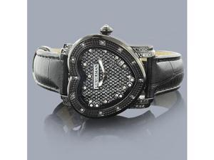 Luxurman Diamond Heart Watch 0.25ct Black