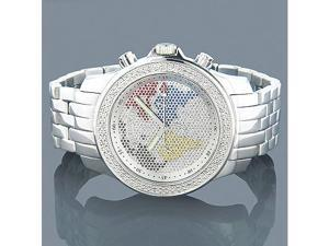 Luxurman Mens Diamond Watch 0.2ct Color Worldmap