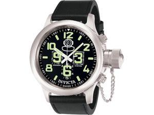 Stainless Steel Russian DIver Black Dial Chronograph Leather Strap