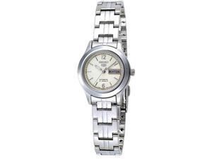 Stainless Steel Seiko 5 Automatic Dress White Dial