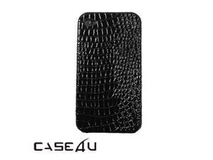 [CASE4U] iPhone-4S Back Case- Black (Crocodile/ Alligator skin Pattern)+ Screen Protector Skin + Anti-dust cap + Wrap