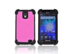 Hot Pink Black Dual Layer Hybrid Hard Silicone Case For Samsung Galaxy S2 Skyrocket