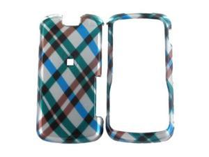 Motorola Clutch i465 Plastic Case  - Checkered Plaid Pattern of Blue  Green  Brown  Silver