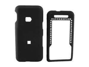 Metro PCS ZTE C70 Rubberized Hard Plastic Case w/ Gem - Black
