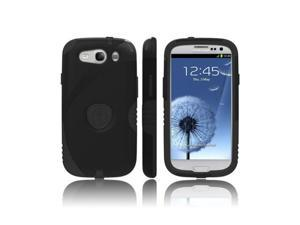 Trident Aegis Samsung Galaxy S3 Hard Plastic Snap On Cover Over Silicone W/ Screen Protector Film Guard - Black