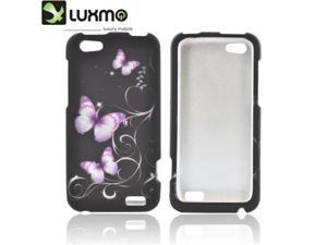 HTC One V Rubberized Plastic Snap On Snap On Cover - Purple Butterflies On Black