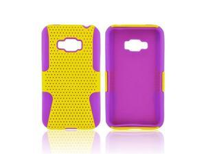 LG Optimus Elite Rubberized Plastic Snap On Cover Over Silicone - Yellow Mesh On Purple