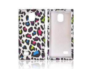 LG Spectrum 2 Rubberized Plastic Snap On Cover - Rainbow Leopard On Silver