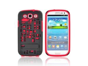 Samsung Galaxy S3 Plastic Snap On Cover Over Silicone W/ Kickstand & ID Slot - Red/ Black Digital Cube Design