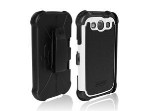 OEM Ballistic Samsung Galaxy S3 SG MAXX Hybrid Case W/ Belt Clip & Built-in Screen Protector Film Guard - Black/ White
