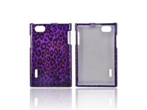 Purple/ Black Leopard Plastic Snap On Cover For LG Optimus Vu Vs950
