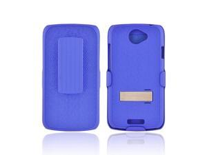 HTC One S Rubberized Hard Plastic Case Snap On Cover W/ Metal Stand & Holster Stand W/ Swivel Belt Clip - Rippled Blue