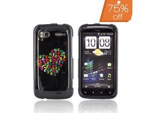 Color Skulls Heart Black Hard Plastic Snap On Case Cover For HTC Sensation 4G