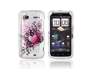 HTC Sensation 4g Plastic Case - Pink Heart W/ Wings On Silver