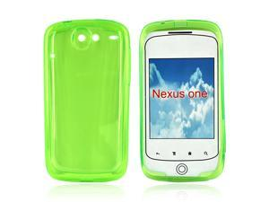 Google Nexus One Crystal Rubbery Feel Silicone Skin Case Cover - Transparent Green
