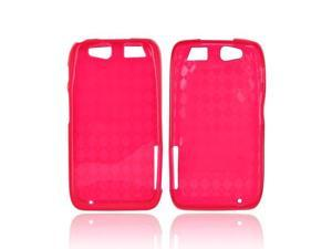 Motorola Atrix HD Crystal Rubbery Soft Silicone Skin Case - Diamond Pattern Red