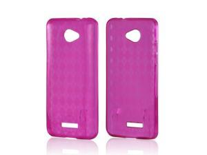 Pink Crystal Rubbery Feel Silicone Skin Case Cover For HTC Droid DNA