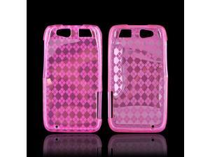 Motorola Atrix HD Crystal Rubbery Feel Silicone Skin Case Cover - Argyle Pink