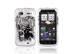 Army Skull on Silver Hard Plastic Snap On Case Cover For HTC Sensation 4G