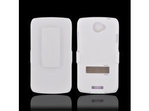 HTC One S Rubberized Hard Plastic Case Snap On Cover W/ Stand & Holster Stand W/ Swivel Belt Clip - Rippled White